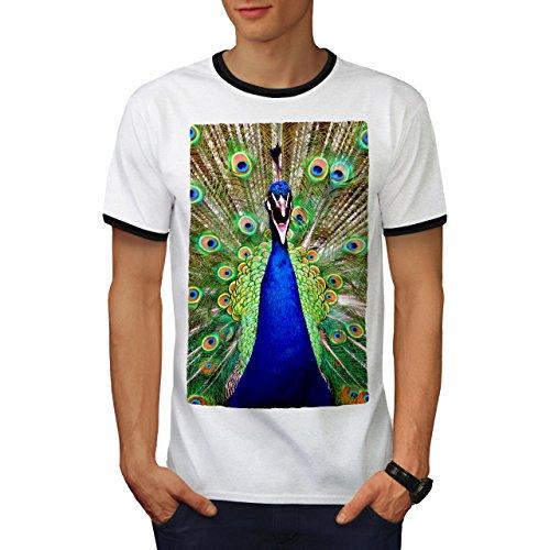 Pinguin Ringer T-shirt (Schön Pfau Schwanz Groß Vogel Herren M Ringer T-shirt | Wellcoda)