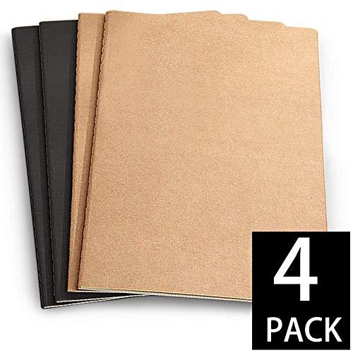 Cuaderno de dibujo A4 con tapa blanda para artista, libro de dibujo, reciclado, sin ácidos, blanco, 110 g/m², bloc de papel con colores negro y papel kraft para medios mixtos (paquete de 4)
