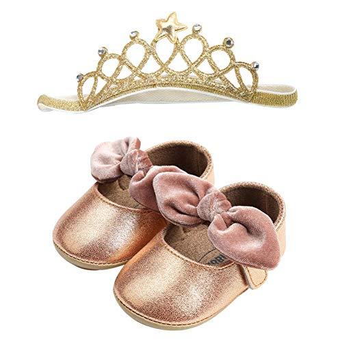 Ballerine per ragazze- Sandali di Principessa - Scarpine neonato - Scarpe Primi Passi - in pelle, Scarpine e royal fascia 6-18 Mesi, di UOMOGO