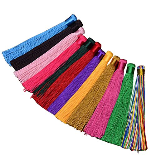 ROSENICE Quasten-Anhänger 12pcs chinesische Knoten-seidige handgemachte weiche Troddeln (gelegentliche Farbe)