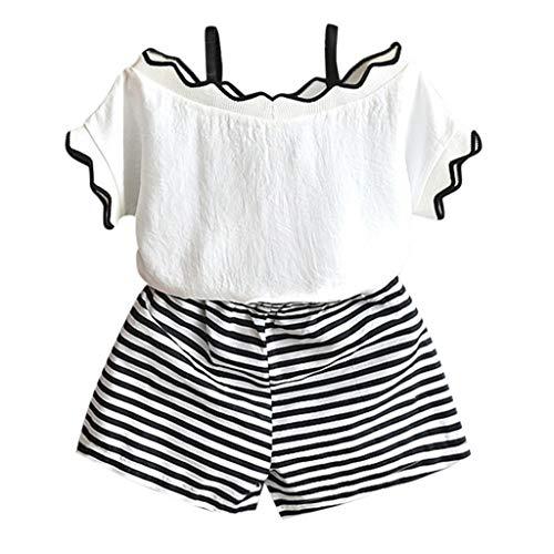 YUAN Kleinkind Kinder Baby Mädchen Outfits Kleidung T-Shirt Tops + Streifen Shorts Hose Set