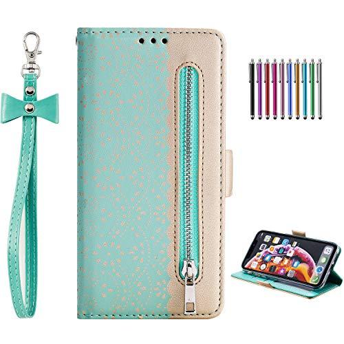 Yobby Brieftasche Hülle für Samsung Galaxy A40,Samsung Galaxy A40 Handyhülle,Bunt Blumen Muster Reißverschluss Leder Magnet Flip Case mit Kartenfach,Standfunktion Stoßfest Schutzhülle-Minzgrün Galaxy Bogen