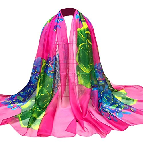 OverDose Damen Schal, Fashion Lady Tücher Blumen Lange Wrap Frauen Schal Chiffon Schal Seide Schals Halstuch (Size Seide Plus Strickjacke)