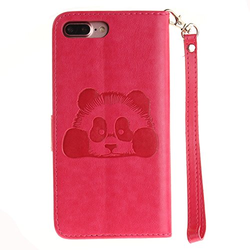 iPhone Case Cover Solid Color 3D Cute Panda Embossed Housse en cuir PU avec Lanyand Card Slots pour IPhone 7 Plus ( Color : 1 , Size : IPhone 7 Plus ) 10