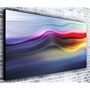 Abstract Colour Lines Wall decor Panoramic Canvas Wall Art Print Framed XXL 55 inch x 24 inch Over 4.5 ft Wide x 2 ft High Ready to Hang Canvas Print