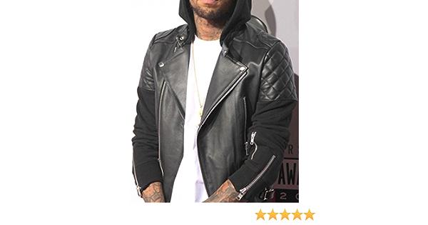 Men/'s Chris Brown Bomber Black Motorcycle Leather Biker Jacket With Detach Hood