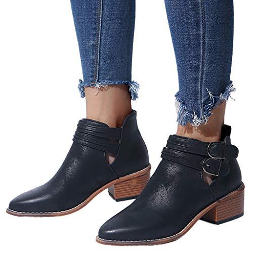 OSYARD Elegante Mode Damen,Lederstiefel Ankle Kurze Stiefeletten Damen Frauen Ponited Toe Schuhe Reine Farbe Booties Schnalle Square Heel Single Stiefel Boots