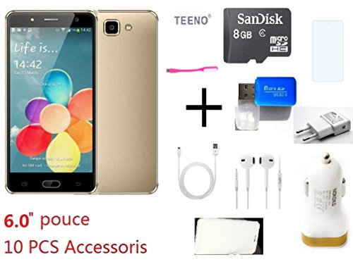 """TEENO® A9 Plus Smartphone Pas Cher 6"""" HD 4G telephone portable debloqué Android Mobilephone - Or"""