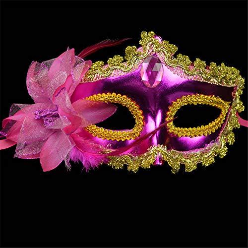 NUOKAI Maske _ Halloween bemalte Maske Prinzessin Maske Seite mit Blume Plattierung Beauty-Maske, Rose rot