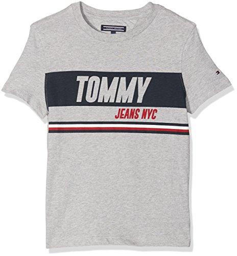 Tommy hilfiger ame sporty block panel tee s/s, t-shirt bambino, grigio (light grey htr 061), 104