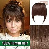 Frange a Clip Cheveux Naturel Extension Postiche 100% Cheveux Humain Bangs - #04 Châtain