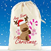 Boultons Graphics Personalised Santa Sack Stocking Babies First Christmas From Santa Girls Pink (Small - 30cm H x 25cm, First Christmas Pink)