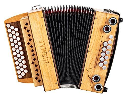 Heimat 3/II Harmonika G-C-F Erle (3-reihig, 2-chörig, aus Erlenholz mit Holzverdeck, X-Bass, 12 Helikon-Bässe, inkl. Trageriemen, Balgschoner und Koffer) Erle