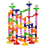 Lydaz Marble Run Set Building Block Toys 105 Pieces Include 30 Glass Marbles For Over 3 Years Old Kids