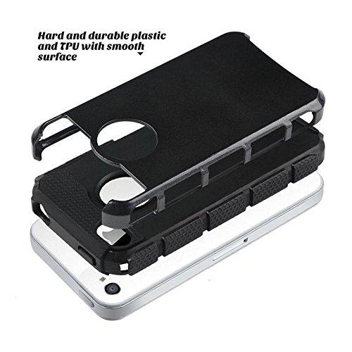 iPhone 6Plus Hülle CORST® Hybrid Rugged harter Gummi Stoß- Hülle für iPhone 6Plus / 6S Plus (Schwarz) Schwarz