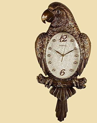 FAONL Personality Creative Parrot Swing Quiet Bell Clock Retro European Style Living Room Wall Watch Art Fashion Decoration Quartz
