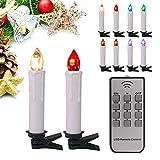 40stk RGB Weinachten LED Kerzen Lichterkette Kerzen Weihnachtskerzen weihnachtsbaum kerzen Weihnachtsbaumbeleuchtung mit Fernbedienung Kabellos mit Timer Weihnachtsbaum Weihnachtsdeko Hochzeit