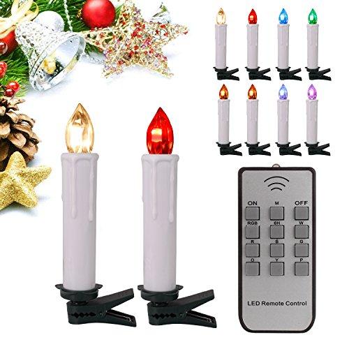 20stk RGB Weinachten LED Kerzen Lichterkette Kerzen Weihnachtskerzen weihnachtsbaum kerzen Weihnachtsbaumbeleuchtung mit Fernbedienung Kabellos mit Timer für Weihnachtsbaum Weihnachtsdeko Hochzeit