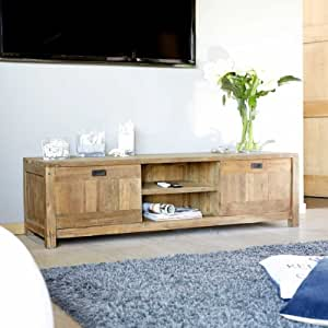 meuble tv en bois de teck recycle 160cm niches et portes cuisine maison. Black Bedroom Furniture Sets. Home Design Ideas