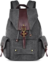 Neonr Canvas Shoulder Backpack Student Bag Large Capacity Travel Daypack For Lady And Men (Black)
