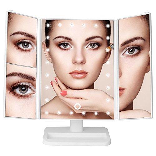 Panel Beleuchtete Make-up-spiegel (LED Make up Spiegel Tri-Fold Beleuchtete Eitelkeitsspiegel Drei Panel, Touchscreen 24 LED Beleuchtung Faltbar Dimmbar mit 1X / 2X / 3X Vergrößerung (weiß))