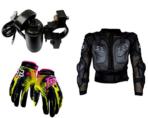Auto Pearl Premium Quality Bike Accessories Combo of Premium Quality Bike USB Charger For Mobile/Tablet. & Fox Hand Grip Glove Green 1 Pair. & Fox Riding Gear Body Armor Protective Jacket For Bike - Black -Medium.  available at amazon for Rs.2204