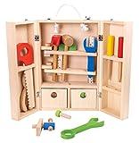 Tooky Toy 27-teiliger Werzeugschrank mit Zollstock, Hammer, Säge, Schraubenzieher uvm. - Holz-Spielzeug mit verschiedenen Farben - Ideal für jeden kleinen Handwerker ab 3 Jahren