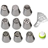 SYGA Combo Of 20, Russian Piping Tips(9) With 10 Icing Piping Bag And 1 Icing Cupler Cake Decoration Kit