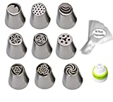#10: SYGA Combo of 20, Russian Piping Tips(9) with 10 Icing Piping Bag and 1 Icing Cupler Cake Decoration Kit