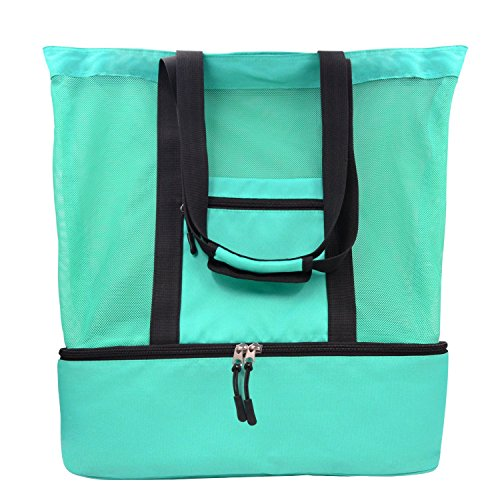 BigForest Large Mesh Beach Tote Bag with Top Zipper Closure and Insulated Picnic Cooler Bag Green