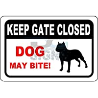 Keep Gate Closed - Dog May Bite Aluminum Sign Metal Signs Vintage Road Signs Tin Plates Signs Decorative Plaque 12x8