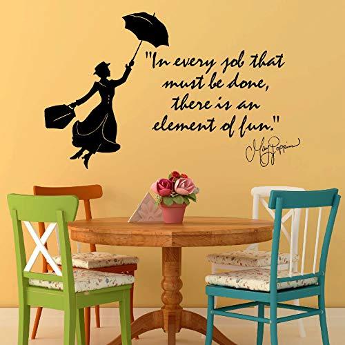 yiyiyaya Mary Poppins Julie Andrews In jedem Job der Vinyl WANDKUNST Zitat Aufkleber Mädchen Schlafzimmer Wandaufkleber Kunst93 * 57CM