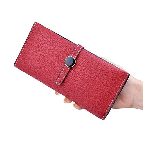 Woolala Women'S Slim Portafogli Pu In Pelle Pieghevole Slot Multi Card Lunga Borsa, Rosa Red