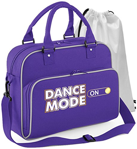 Pole Fitness Dancing - Dance Mode On - Purple Lila - Tanztasche & Schuh Tasche Dance Bags MusicaliTee (White T-shirt Championship)