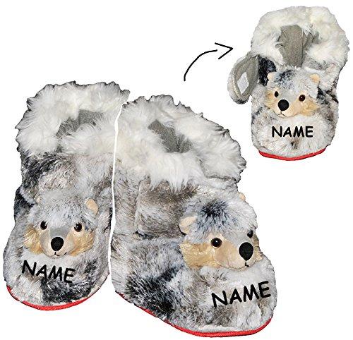 alles-meine.de GmbH Hausschuhe -  Hund Husky / Hunde  - SUPERWARM - incl. Name - Gr. 36 - 37 - gefütterter Plüschhausschuh / Hausstiefel - Boots Stiefel warm Tier Tiere / für K..