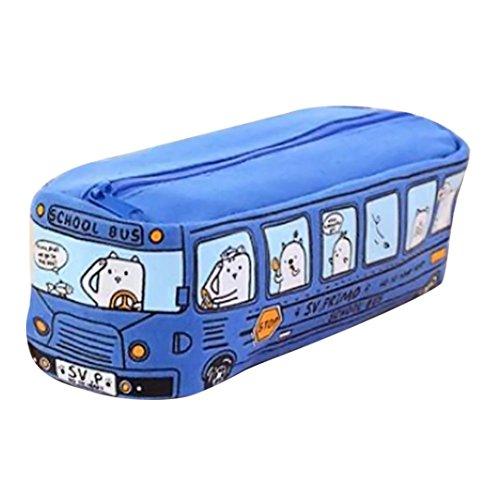 Federmäppchen,Jaminy Bleistift-Beutel-Kasten Studenten Kids Katzenschule Bus Bleistift Tasche BÜRo Brieftasche Freeshipping (Blau)
