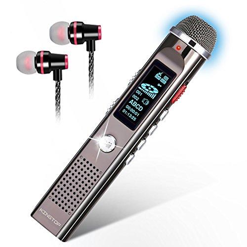 KingTop Digitales Diktiergerät mit automatischer Mikrofonanpassung Metallgehäuse 1536Kbps 8GB Aufnahmegerät Digitalrecorder Diktiergerät Voice Recorder