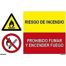 Normaluz PRD4360100 - Señal Combinada Homologada Riesgo De Incendio/Prohibido Fumar Y Encender Fuego Adhesivo