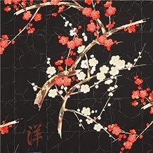 Tela negra de Alexander Henry flor japonesa dorado