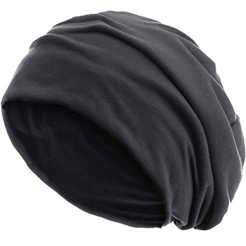 style3 Slouch Beanie aus atmungsaktivem, feinem und leichten Jersey Unisex Mütze Haube Bini Einheitsgröße, Farbe:Asphalt Anthrazit