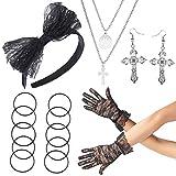 Beelittle 80er Jahre Party Pop Diva Kostüm Zubehör Lace Stirnband Ohrringe Handschuhe Halskette Armband für 80er Jahre Party Halloween Madonna Kostüm (Schwarz1)