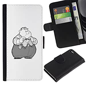 Flip Cuir Portefeuille en peau de vache Housse Fente pour Carte Coque Étui de Protection pour Apple Iphone 4 / 4S / Business Style Kids Obese Nixon Cartoon Character