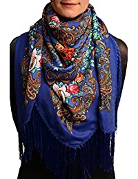 "Blue ""Tzarsky"" Slavonic Russian Folk Style Shawl - Blue Floral Scarf"