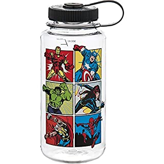 Nalgene - Wide Mouth BPA Free Water Bottle Clear Avengers with Black Lid - 32 oz.