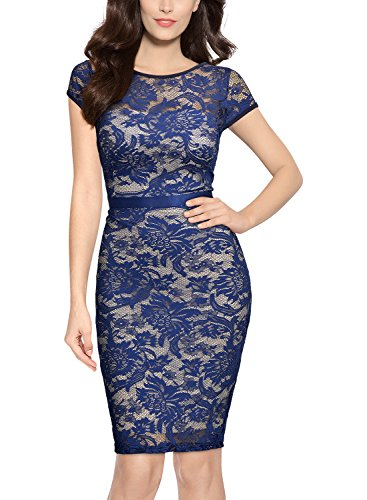 MIUSOL Women's Floral Lace Backless Bodycon Party Dress,Small,Blue