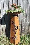 Rostige Dekosäule Rosali mit Schale, perfekt für den Balkon oder Garten