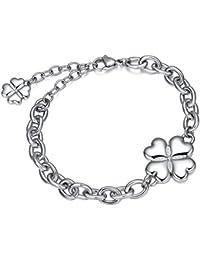 Silber Armband mit Herzen und Glücksblatt. Italienischer Schmuck. Luca Barra BK1363. Geschenk, Mode, Glücksbringer