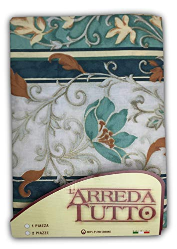 Tex family telo arredo copritutto gran foulard copriletto copridivano tessuto edera verde - 2 piazze