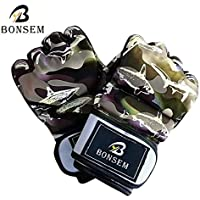 Kurphy Gants de Boxe MMA à la Mode de Camouflage Doux PU Half Finger Design Gants de Formation de Sac de Boxe Grappling pour Adulte