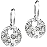 Dower & Hall Fireworks 9ct Yellow Gold White Sapphire Disc Drop Earrings